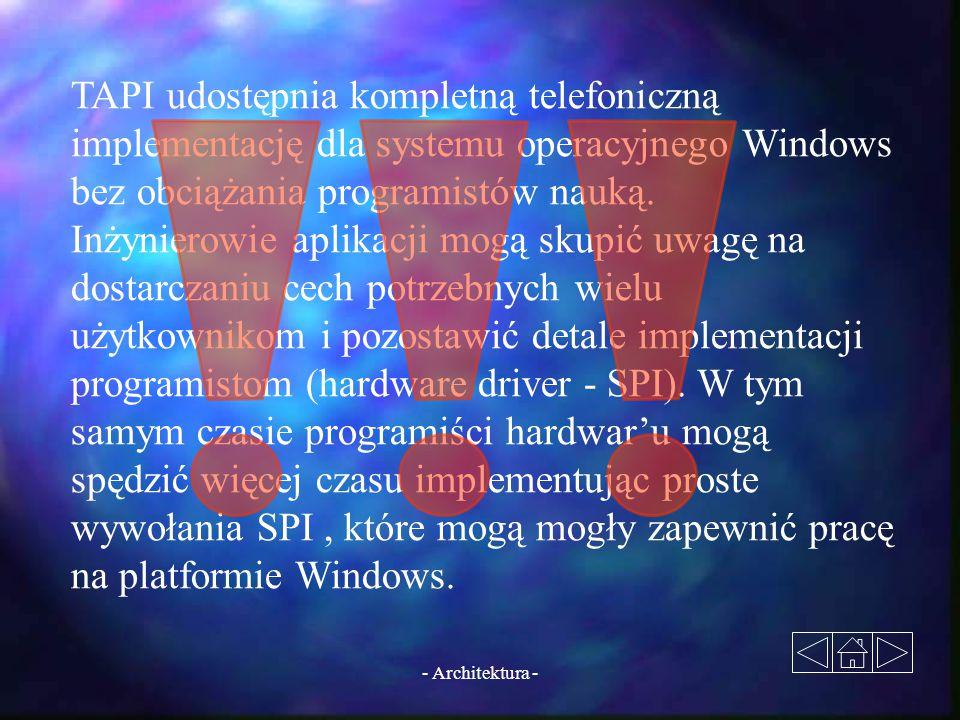 - Architektura - TAPI udostępnia kompletną telefoniczną implementację dla systemu operacyjnego Windows bez obciążania programistów nauką. Inżynierowie