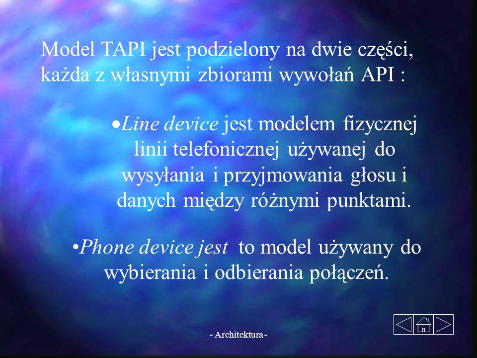- Architektura - Model TAPI jest podzielony na dwie części, każda z własnymi zbiorami wywołań API :  Line device jest modelem fizycznej linii telefon