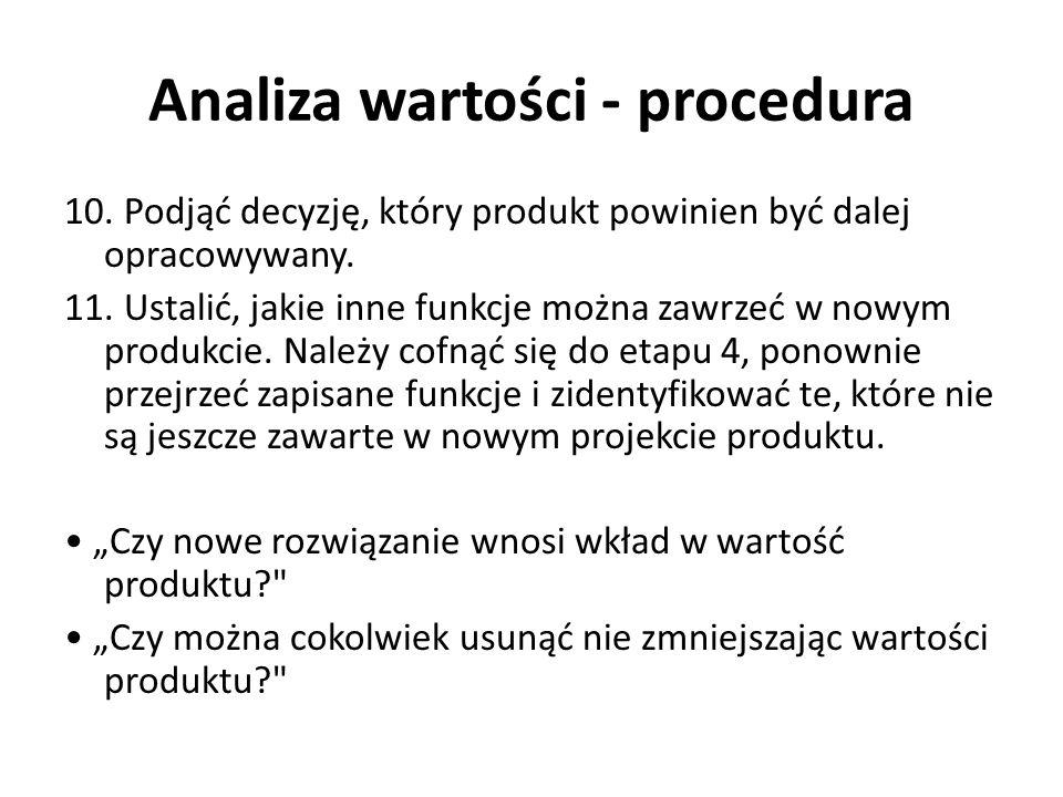 Analiza wartości - procedura 10. Podjąć decyzję, który produkt powinien być dalej opracowywany. 11. Ustalić, jakie inne funkcje można zawrzeć w nowym