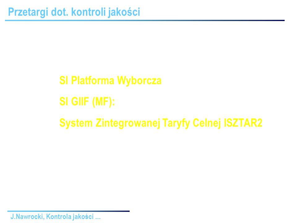 J.Nawrocki, Kontrola jakości... Przetargi dot. kontroli jakości SI Platforma Wyborcza: ok.