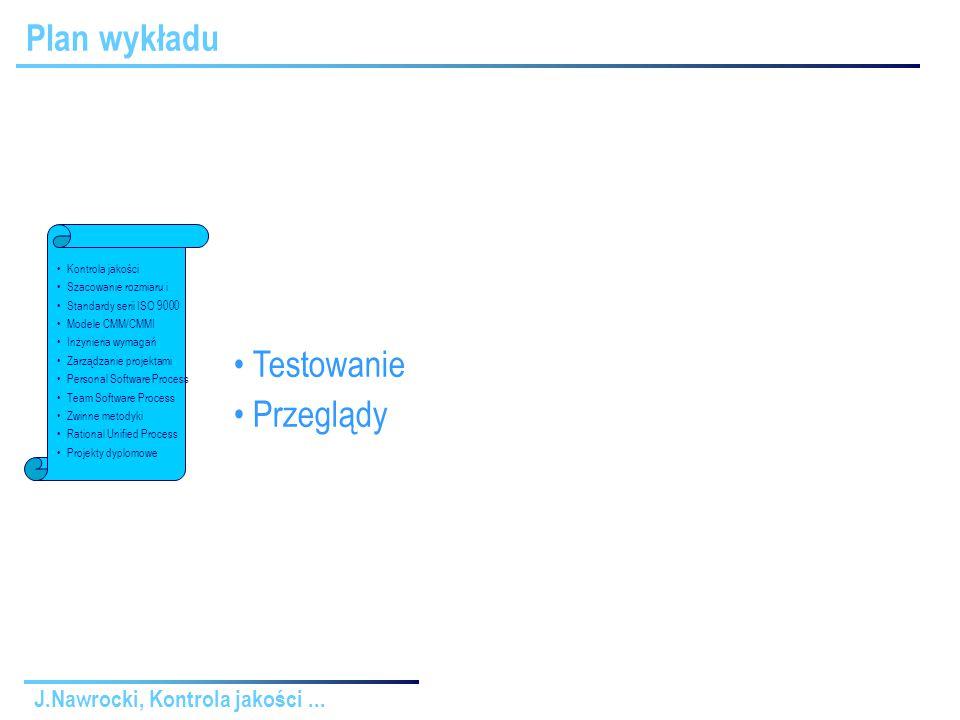 J.Nawrocki, Kontrola jakości...Rodzaje testowania Wykonanie ręczne XPWykonanie automat.