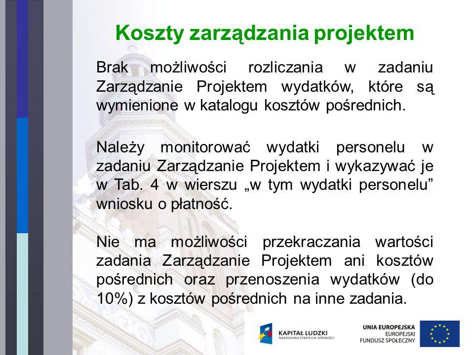 Koszty zarządzania projektem Brak możliwości rozliczania w zadaniu Zarządzanie Projektem wydatków, które są wymienione w katalogu kosztów pośrednich.