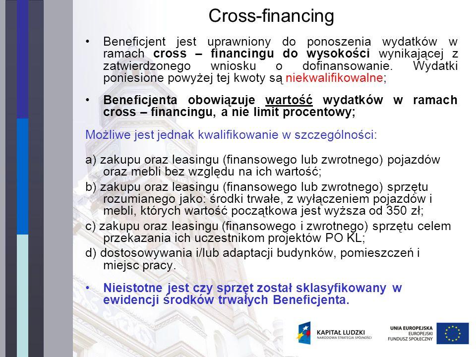 Cross-financing Beneficjent jest uprawniony do ponoszenia wydatków w ramach cross – financingu do wysokości wynikającej z zatwierdzonego wniosku o dofinansowanie.