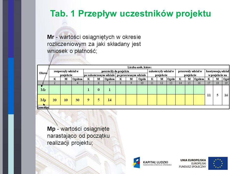 Mr - wartości osiągniętych w okresie rozliczeniowym za jaki składany jest wniosek o płatność; Mp - wartości osiągnięte narastająco od początku realizacji projektu; Tab.