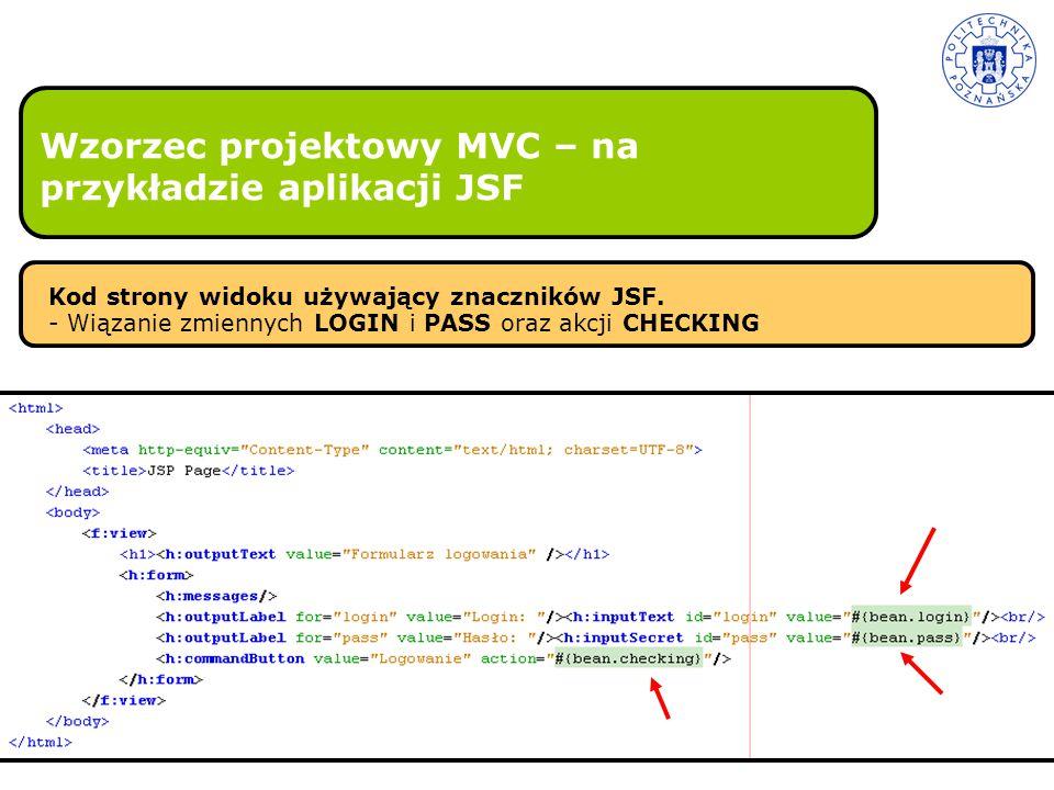 Wzorzec projektowy MVC – na przykładzie aplikacji JSF Kod strony widoku używający znaczników JSF. - Wiązanie zmiennych LOGIN i PASS oraz akcji CHECKIN