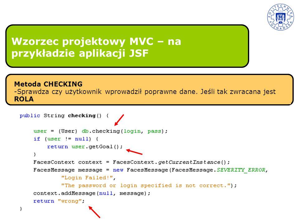 Wzorzec projektowy MVC – na przykładzie aplikacji JSF Metoda CHECKING -Sprawdza czy użytkownik wprowadził poprawne dane. Jeśli tak zwracana jest ROLA