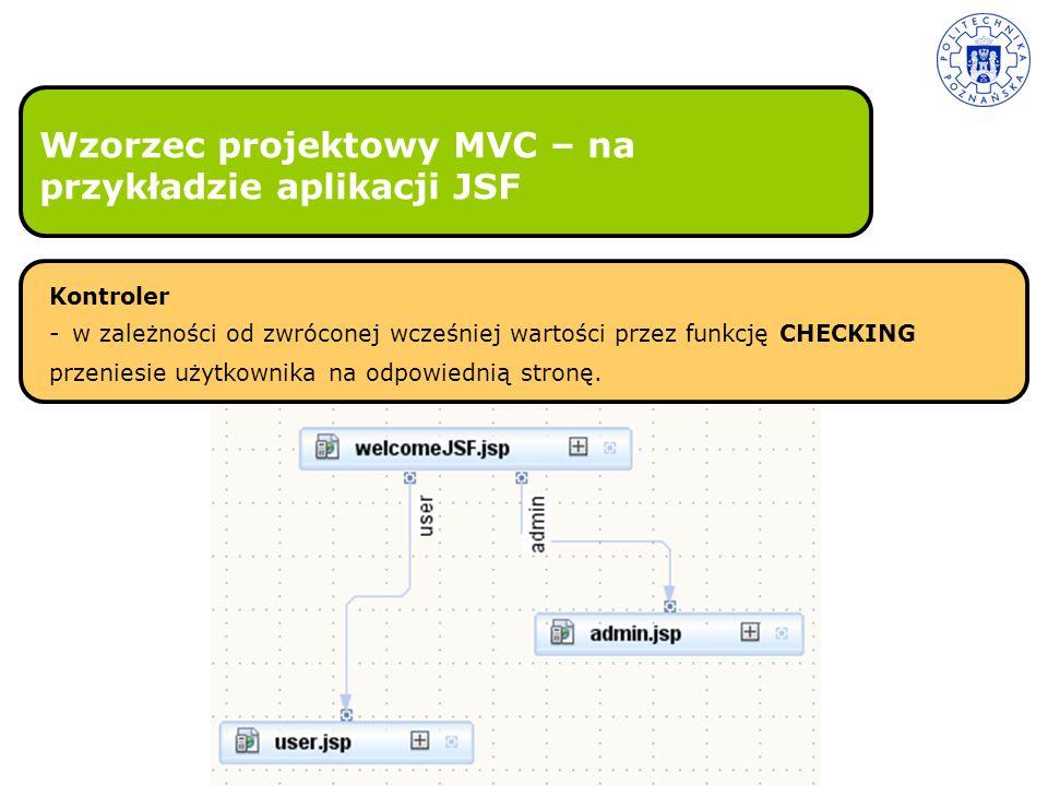 Wzorzec projektowy MVC – na przykładzie aplikacji JSF Kontroler - w zależności od zwróconej wcześniej wartości przez funkcję CHECKING przeniesie użytk