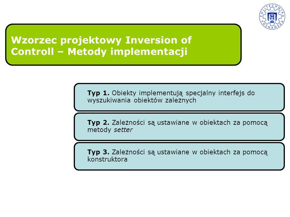 Wzorzec projektowy Inversion of Controll – Metody implementacji Typ 1. Obiekty implementują specjalny interfejs do wyszukiwania obiektów zależnych Typ