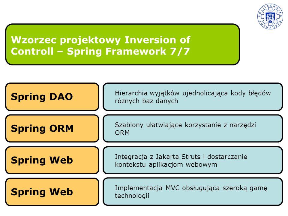 Wzorzec projektowy Inversion of Controll – Spring Framework 7/7 Hierarchia wyjątków ujednolicająca kody błędów różnych baz danych Spring DAOSpring ORM
