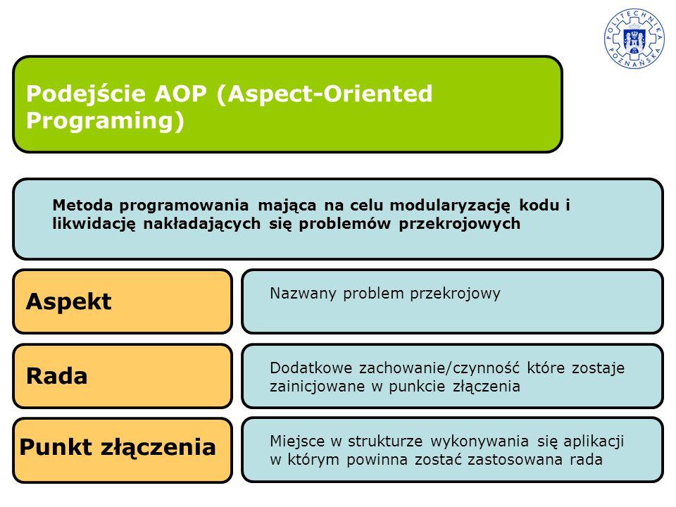 Podejście AOP (Aspect-Oriented Programing) Metoda programowania mająca na celu modularyzację kodu i likwidację nakładających się problemów przekrojowy