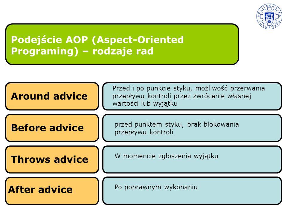 Podejście AOP (Aspect-Oriented Programing) – rodzaje rad Before advice przed punktem styku, brak blokowania przepływu kontroli Throws advice W momenci