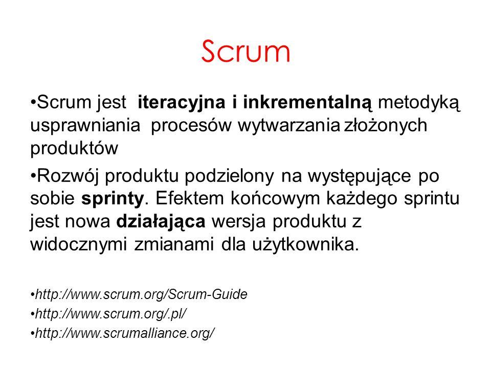 Scrum jest iteracyjna i inkrementalną metodyką usprawnianiaprocesów wytwarzaniazłożonych produktów Rozwój produktu podzielony na występujące po sobie