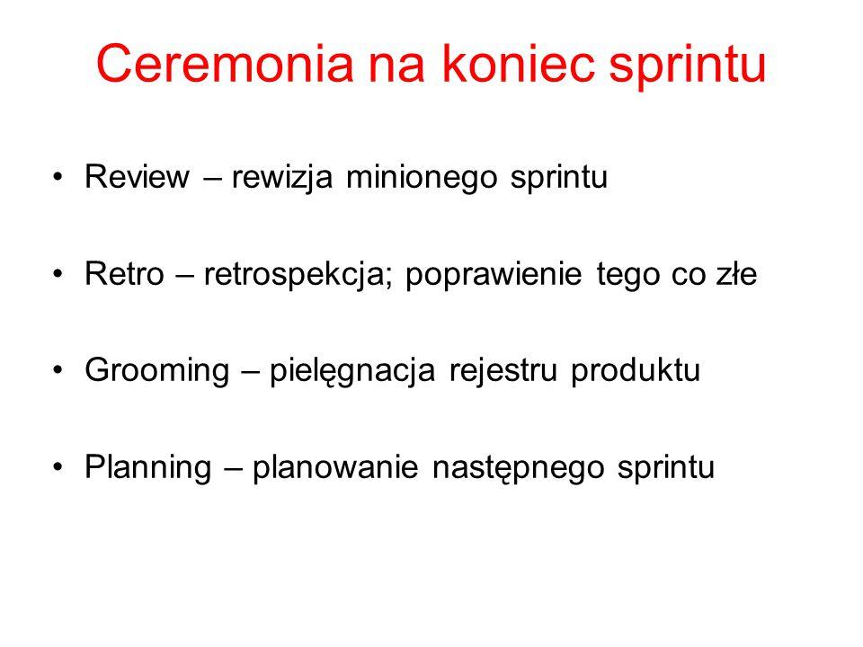 Ceremonia na koniec sprintu Review – rewizja minionego sprintu Retro – retrospekcja; poprawienie tego co złe Grooming – pielęgnacja rejestru produktu