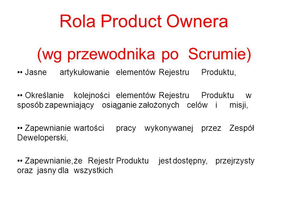 Rola Product Ownera (wg przewodnika po Scrumie) JasneartykułowanieelementówRejestruProduktu, OkreślaniekolejnościelementówRejestruProduktu w sposób za
