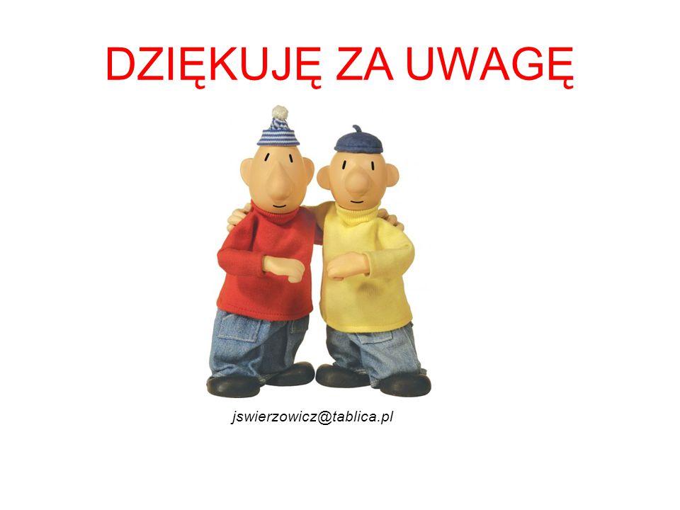 DZIĘKUJĘ ZA UWAGĘ jswierzowicz@tablica.pl