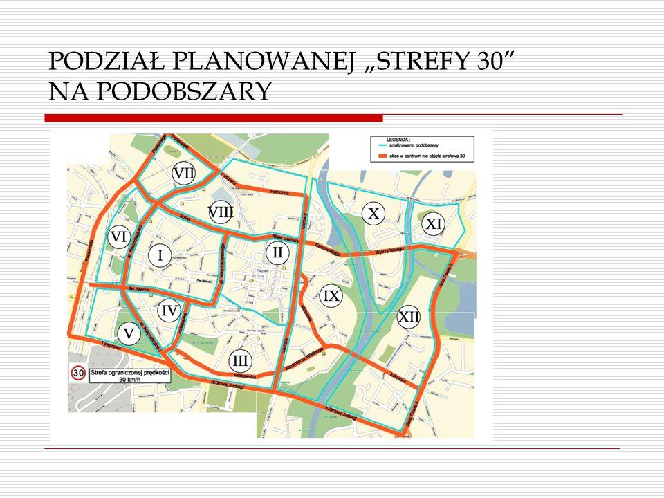 """PODZIAŁ PLANOWANEJ """"STREFY 30 NA PODOBSZARY"""