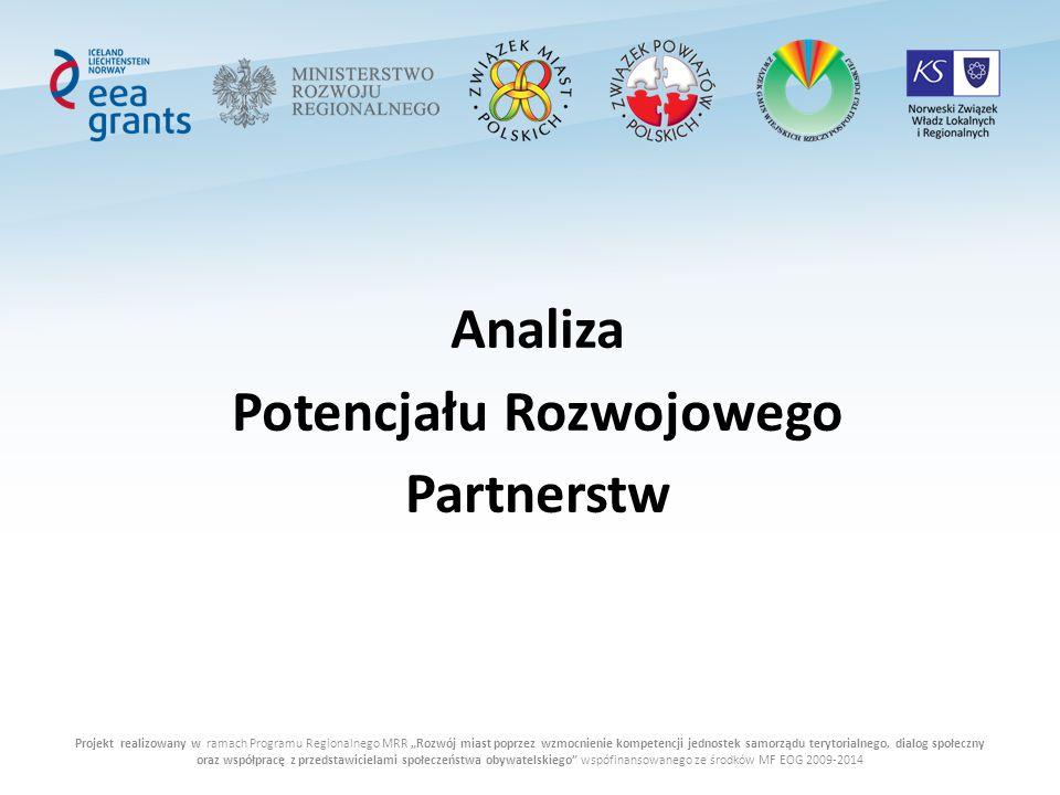 """Projekt realizowany w ramach Programu Regionalnego MRR """"Rozwój miast poprzez wzmocnienie kompetencji jednostek samorządu terytorialnego, dialog społeczny oraz współpracę z przedstawicielami społeczeństwa obywatelskiego wspófinansowanego ze środków MF EOG 2009-2014 Analiza Potencjału Rozwojowego Partnerstw"""