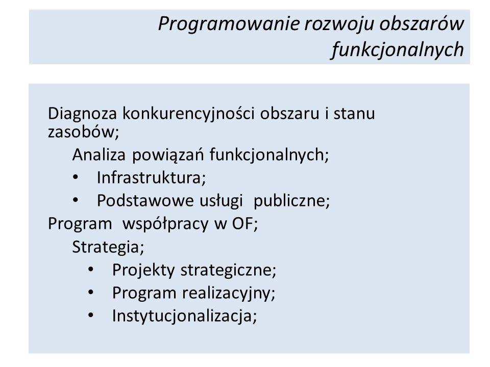 Diagnoza konkurencyjności obszaru i stanu zasobów; Analiza powiązań funkcjonalnych; Infrastruktura; Podstawowe usługi publiczne; Program współpracy w OF; Strategia; Projekty strategiczne; Program realizacyjny; Instytucjonalizacja; Programowanie rozwoju obszarów funkcjonalnych