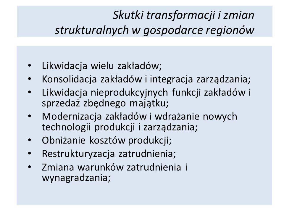 Likwidacja wielu zakładów; Konsolidacja zakładów i integracja zarządzania; Likwidacja nieprodukcyjnych funkcji zakładów i sprzedaż zbędnego majątku; Modernizacja zakładów i wdrażanie nowych technologii produkcji i zarządzania; Obniżanie kosztów produkcji; Restrukturyzacja zatrudnienia; Zmiana warunków zatrudnienia i wynagradzania; Skutki transformacji i zmian strukturalnych w gospodarce regionów