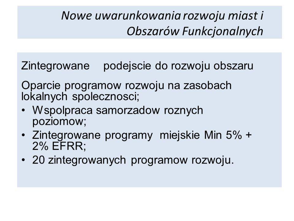 Zintegrowane podejscie do rozwoju obszaru Oparcie programow rozwoju na zasobach lokalnych spolecznosci; Wspolpraca samorzadow roznych poziomow; Zintegrowane programy miejskie Min 5% + 2% EFRR; 20 zintegrowanych programow rozwoju.