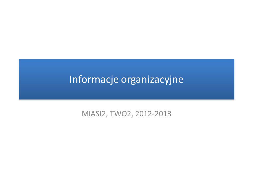 Informacje organizacyjne MiASI2, TWO2, 2012-2013