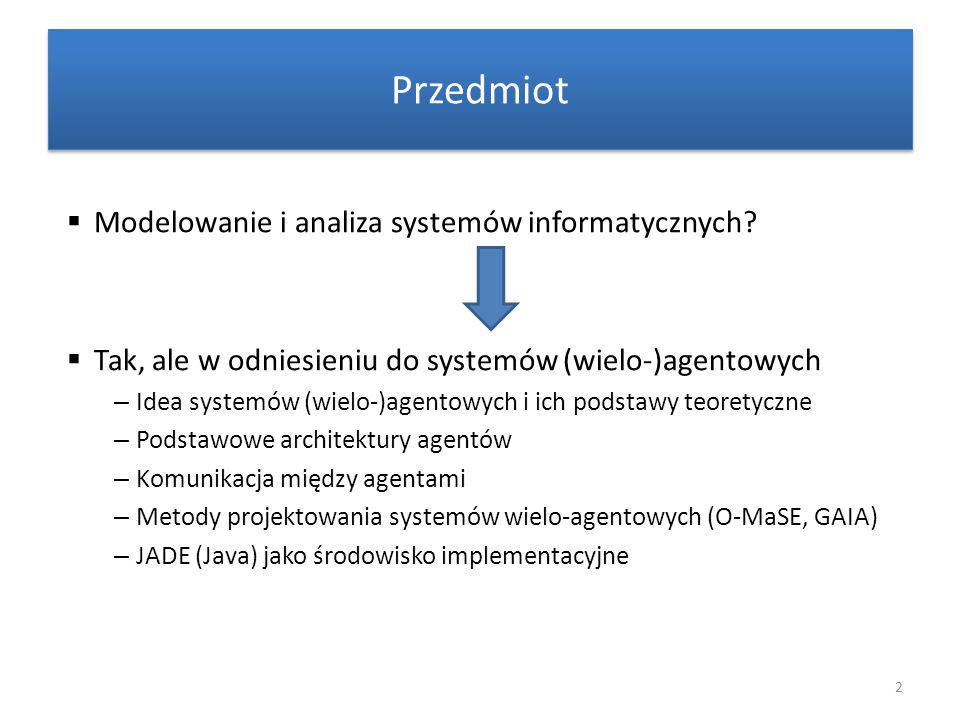 Literatura i materiały  Michael Wooldridge: An Introduction to MultiAgent Systems – http://www.csc.liv.ac.uk/~mjw/pubs/imas/ IMAS2e.html – …  Materiały – http://www.cs.put.poznan.pl/swilk/miasi2 3