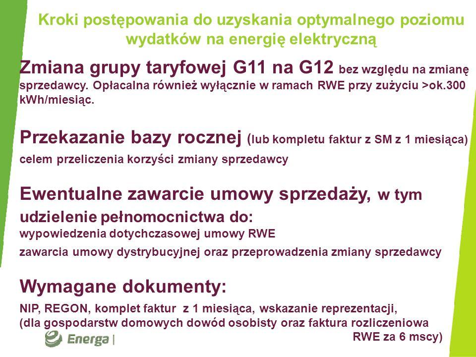 Zmiana grupy taryfowej G11 na G12 bez względu na zmianę sprzedawcy. Opłacalna również wyłącznie w ramach RWE przy zużyciu >ok.300 kWh/miesiąc. Przekaz