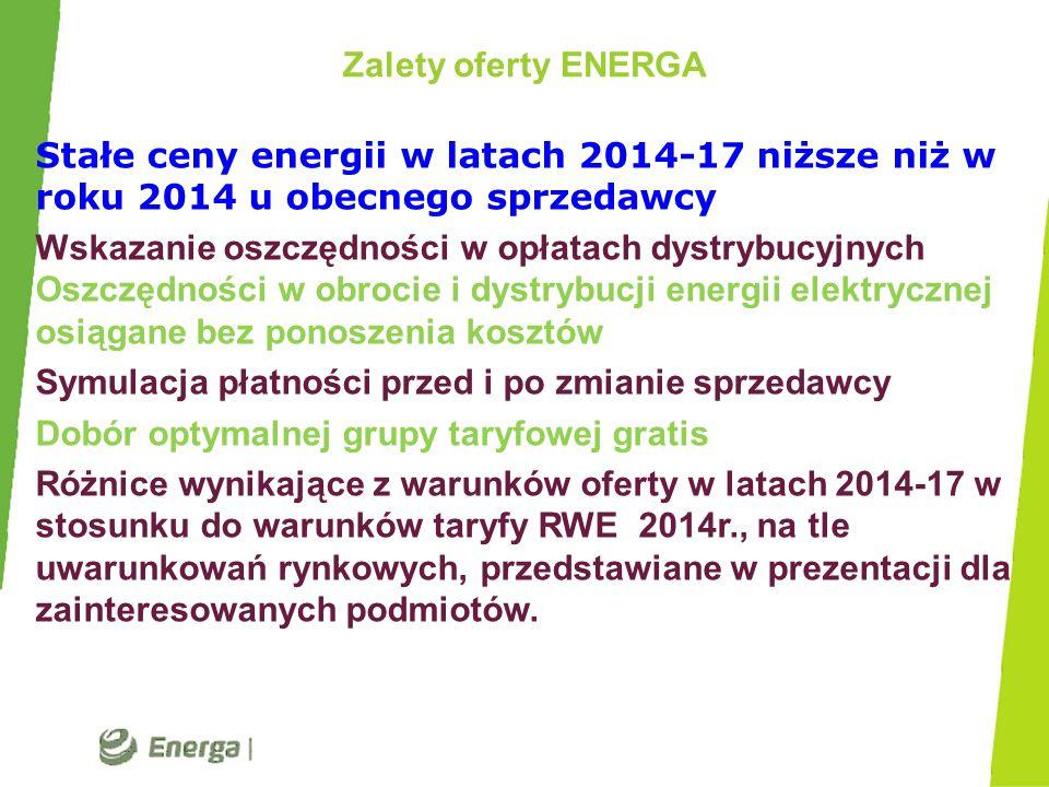 Zalety oferty ENERGA Stałe ceny energii w latach 2014-17 niższe niż w roku 2014 u obecnego sprzedawcy Wskazanie oszczędności w opłatach dystrybucyjnyc