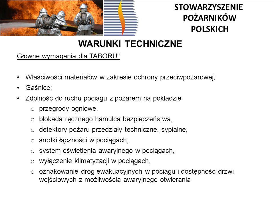 STOWARZYSZENIE POŻARNIKÓW POLSKICH WARUNKI TECHNICZNE Główne wymagania dla TABORU