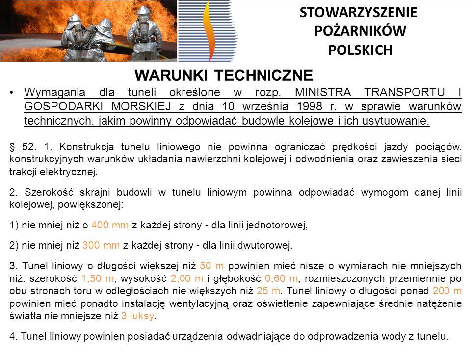 STOWARZYSZENIE POŻARNIKÓW POLSKICH WARUNKI TECHNICZNE Wymagania dla tuneli określone w rozp. MINISTRA TRANSPORTU I GOSPODARKI MORSKIEJ z dnia 10 wrześ