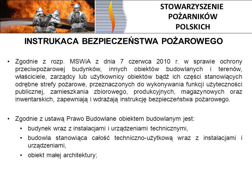 STOWARZYSZENIE POŻARNIKÓW POLSKICH INSTRUKACA BEZPIECZEŃSTWA POŻAROWEGO Zgodnie z rozp. MSWiA z dnia 7 czerwca 2010 r. w sprawie ochrony przeciwpożaro