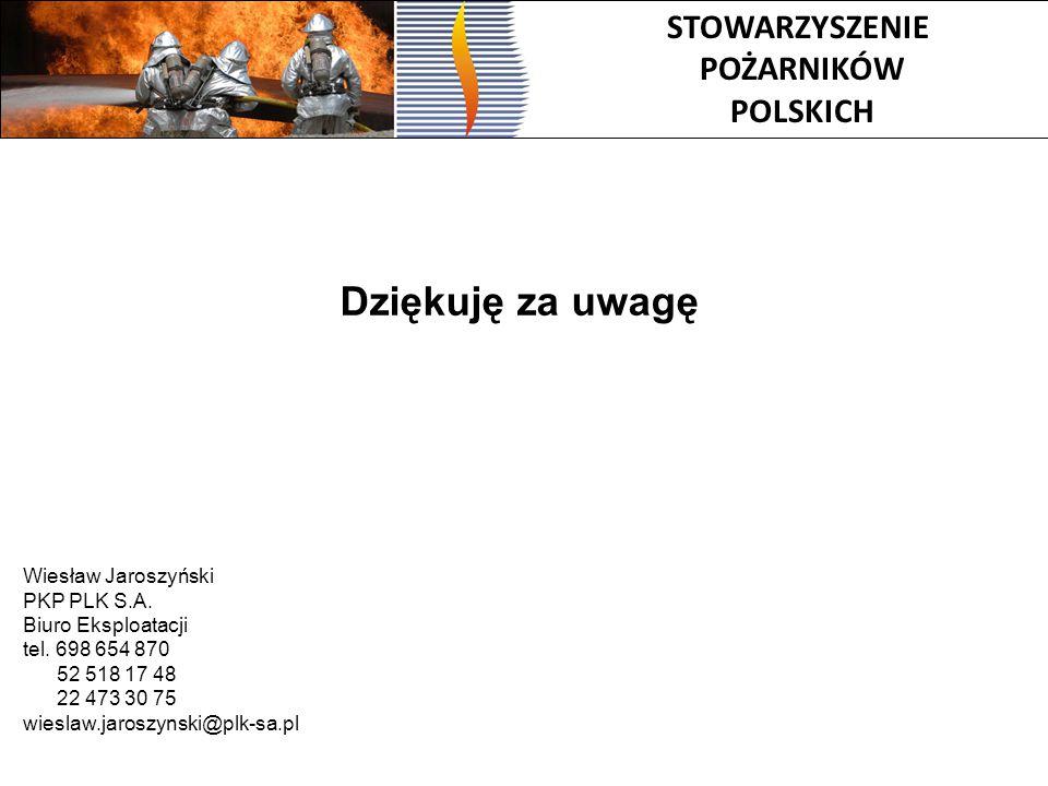 STOWARZYSZENIE POŻARNIKÓW POLSKICH Dziękuję za uwagę Wiesław Jaroszyński PKP PLK S.A. Biuro Eksploatacji tel. 698 654 870 52 518 17 48 22 473 30 75 wi