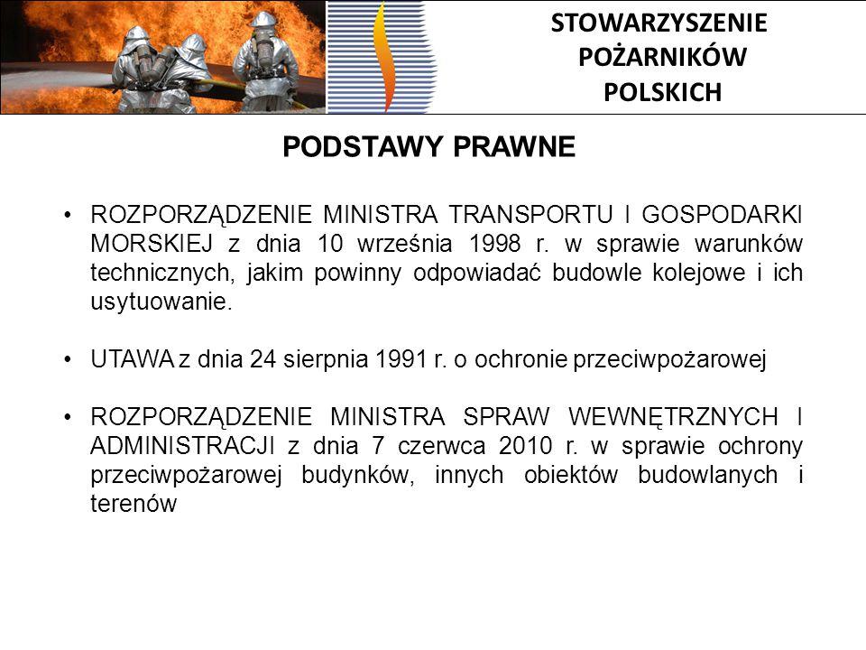 STOWARZYSZENIE POŻARNIKÓW POLSKICH PODSTAWY PRAWNE ROZPORZĄDZENIE MINISTRA TRANSPORTU I GOSPODARKI MORSKIEJ z dnia 10 września 1998 r. w sprawie warun