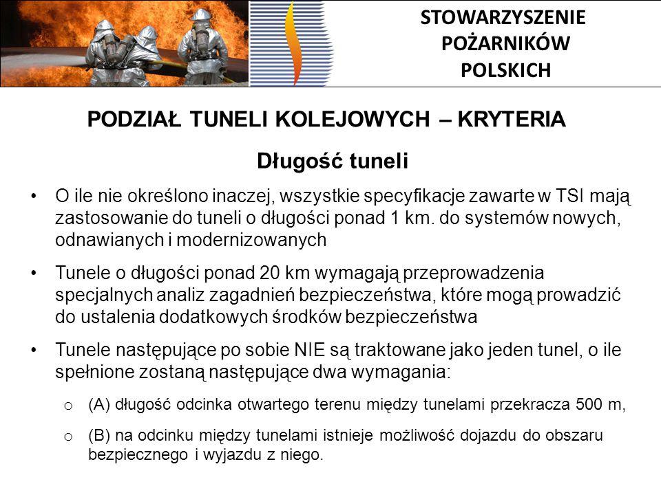 STOWARZYSZENIE POŻARNIKÓW POLSKICH Długość tuneli O ile nie określono inaczej, wszystkie specyfikacje zawarte w TSI mają zastosowanie do tuneli o dług