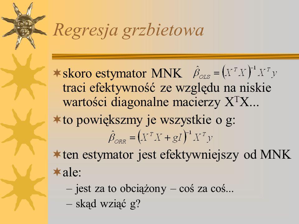 Regresja grzbietowa  skoro estymator MNK traci efektywność ze względu na niskie wartości diagonalne macierzy X T X...