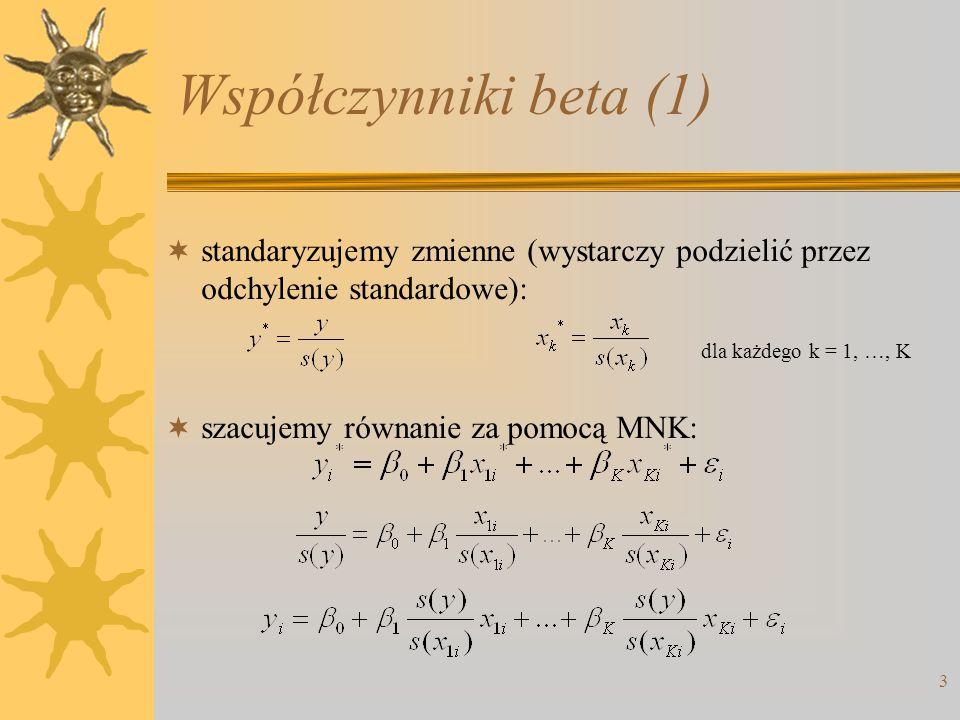 Współczynniki beta (1) 3  standaryzujemy zmienne (wystarczy podzielić przez odchylenie standardowe):  szacujemy równanie za pomocą MNK: dla każdego k = 1, …, K