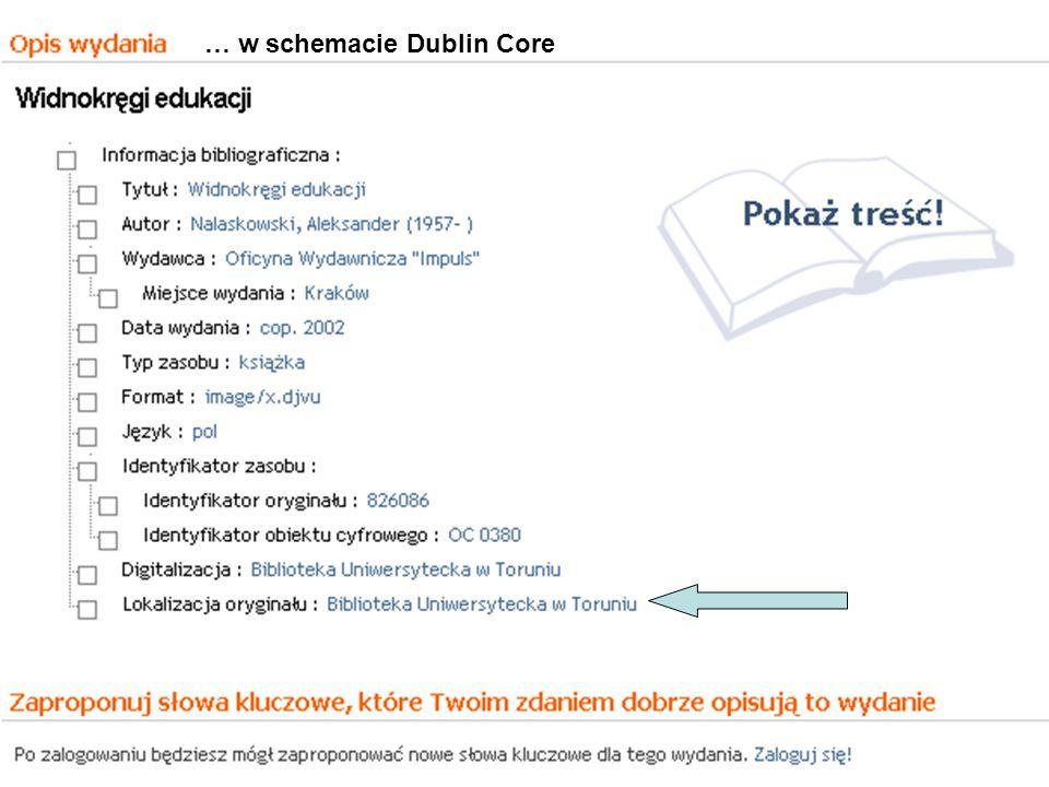… w schemacie Dublin Core
