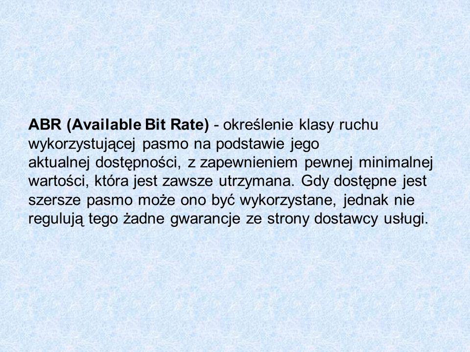 ABR (Available Bit Rate) - określenie klasy ruchu wykorzystującej pasmo na podstawie jego aktualnej dostępności, z zapewnieniem pewnej minimalnej wartości, która jest zawsze utrzymana.