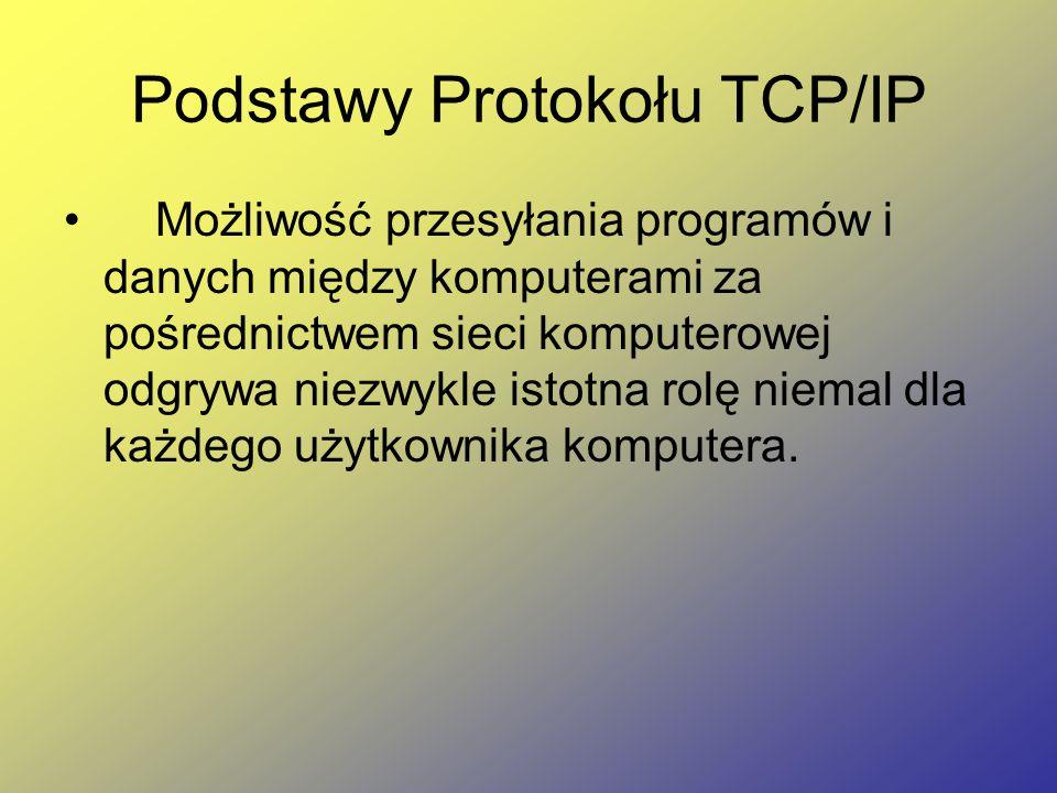Podstawy Protokołu TCP/IP Możliwość przesyłania programów i danych między komputerami za pośrednictwem sieci komputerowej odgrywa niezwykle istotna ro