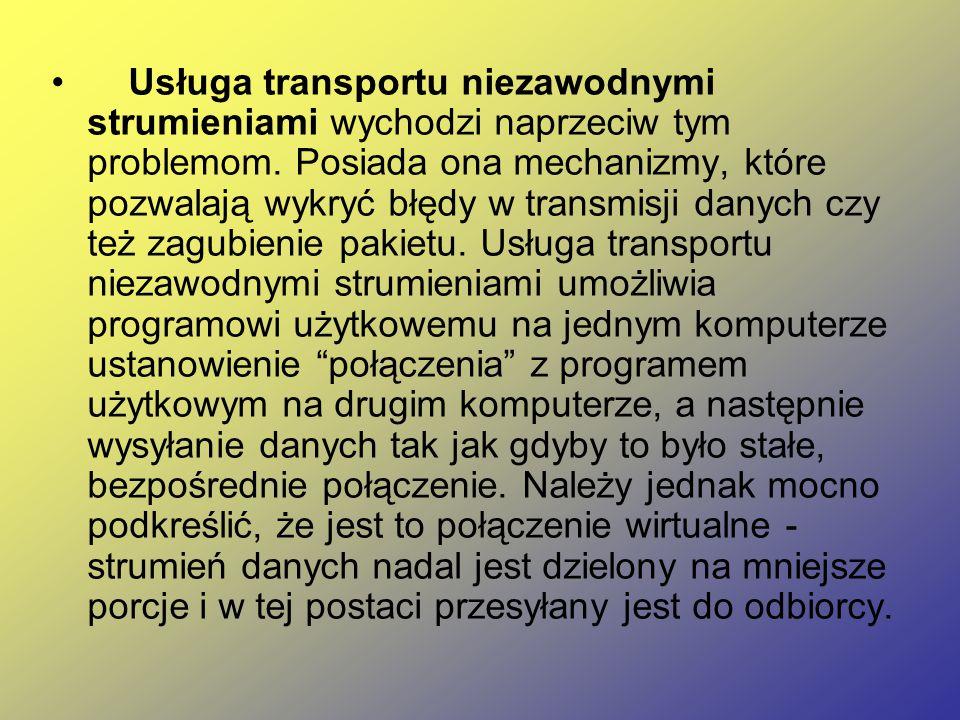 Usługa transportu niezawodnymi strumieniami wychodzi naprzeciw tym problemom. Posiada ona mechanizmy, które pozwalają wykryć błędy w transmisji danych