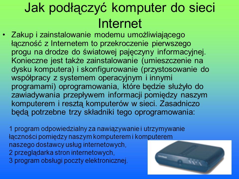 Jak podłączyć komputer do sieci Internet Zakup i zainstalowanie modemu umożliwiającego łączność z Internetem to przekroczenie pierwszego progu na drod
