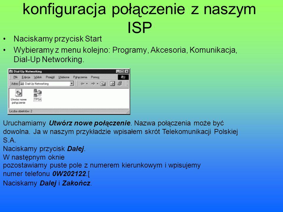 konfiguracja połączenie z naszym ISP Naciskamy przycisk Start Wybieramy z menu kolejno: Programy, Akcesoria, Komunikacja, Dial-Up Networking. Uruchami