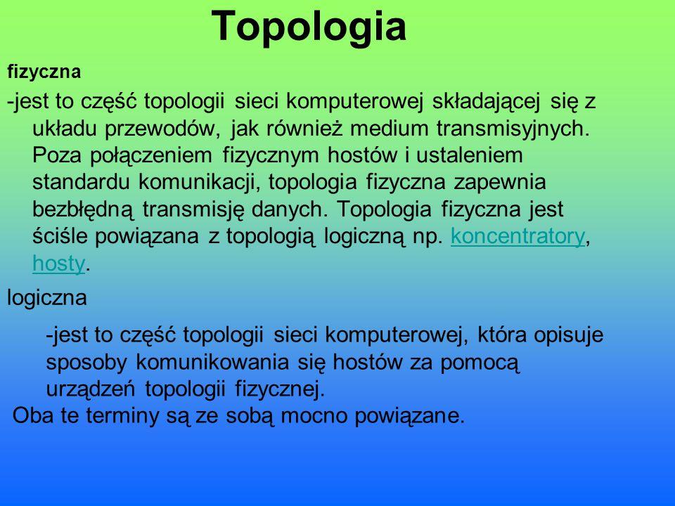 Topologia -jest to część topologii sieci komputerowej składającej się z układu przewodów, jak również medium transmisyjnych. Poza połączeniem fizyczny