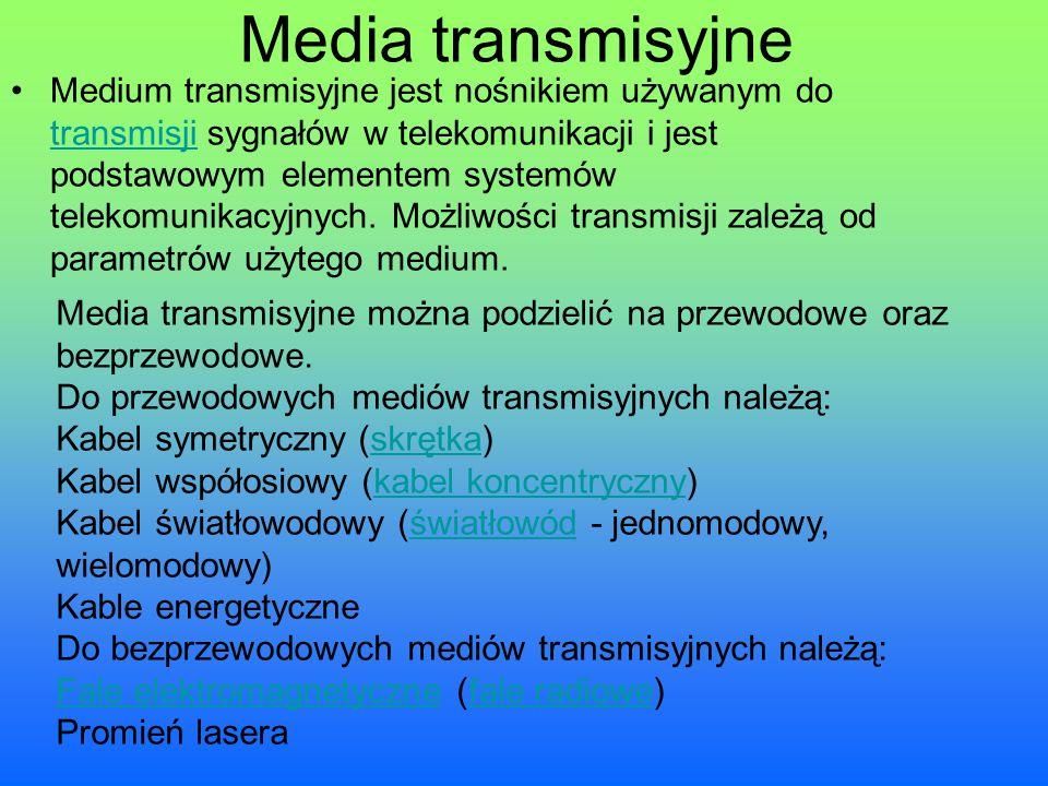 Media transmisyjne Medium transmisyjne jest nośnikiem używanym do transmisji sygnałów w telekomunikacji i jest podstawowym elementem systemów telekomu