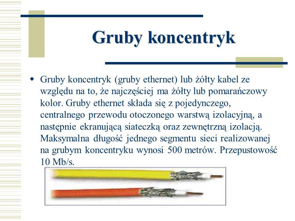 Gruby koncentryk  Gruby koncentryk (gruby ethernet) lub żółty kabel ze względu na to, że najczęściej ma żółty lub pomarańczowy kolor. Gruby ethernet