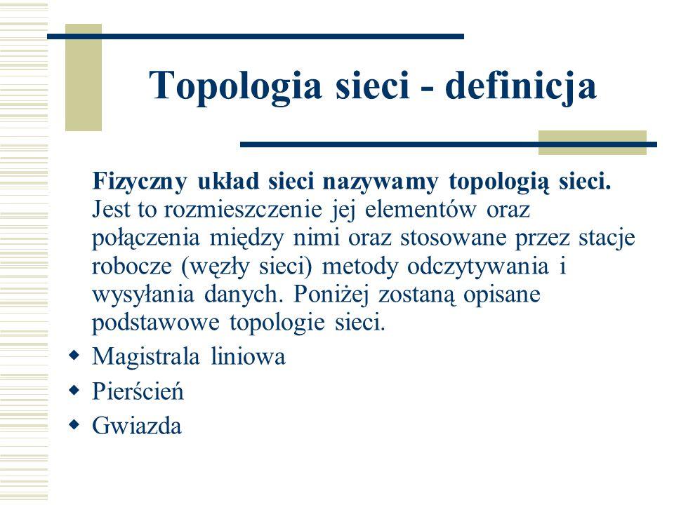 Topologia sieci - definicja Fizyczny układ sieci nazywamy topologią sieci. Jest to rozmieszczenie jej elementów oraz połączenia między nimi oraz stoso