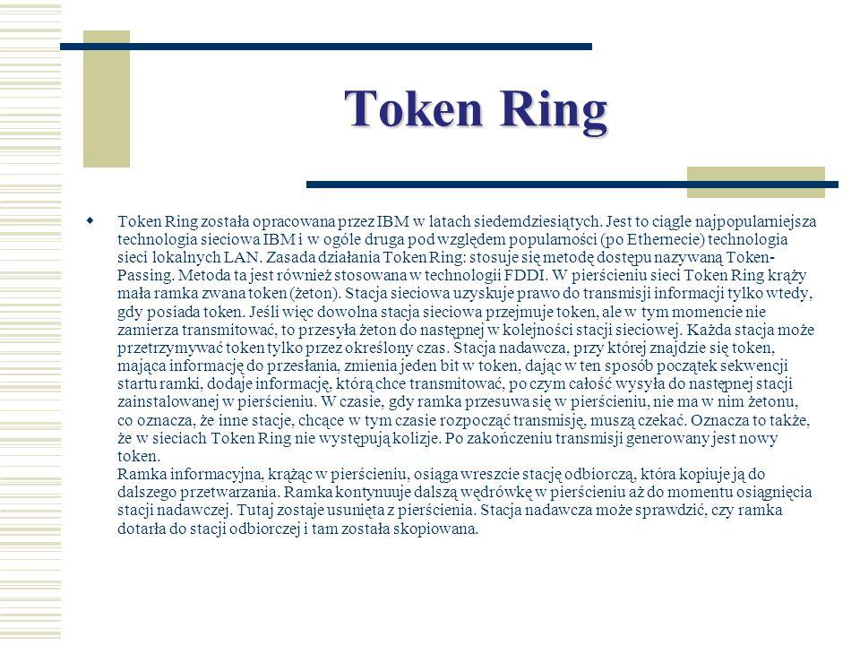 Token Ring  Token Ring została opracowana przez IBM w latach siedemdziesiątych. Jest to ciągle najpopularniejsza technologia sieciowa IBM i w ogóle d
