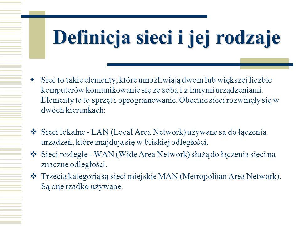 Definicja sieci i jej rodzaje  Sieć to takie elementy, które umożliwiają dwom lub większej liczbie komputerów komunikowanie się ze sobą i z innymi ur
