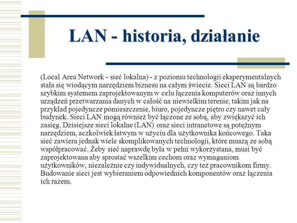 LAN - historia, działanie (Local Area Network - sieć lokalna) - z poziomu technologii eksperymentalnych stała się wiodącym narzędziem biznesu na całym