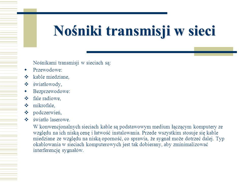 Nośniki transmisji w sieci Nośnikami transmisji w sieciach są:  Przewodowe:  kable miedziane,  światłowody,  Bezprzewodowe:  fale radiowe,  mikr